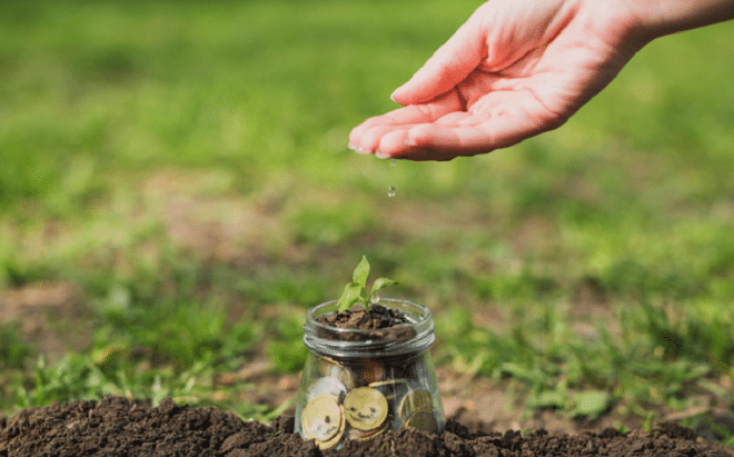charity community green grass with glass jar filled with coins and soil being watered